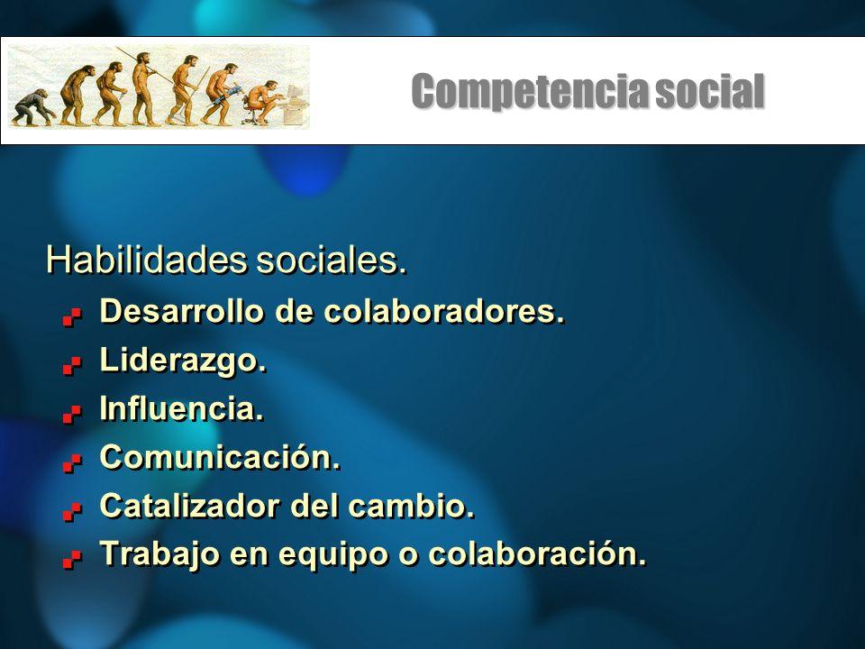 Competencia social Habilidades sociales. Desarrollo de colaboradores. Liderazgo. Influencia. Comunicación. Catalizador del cambio. Trabajo en equipo o
