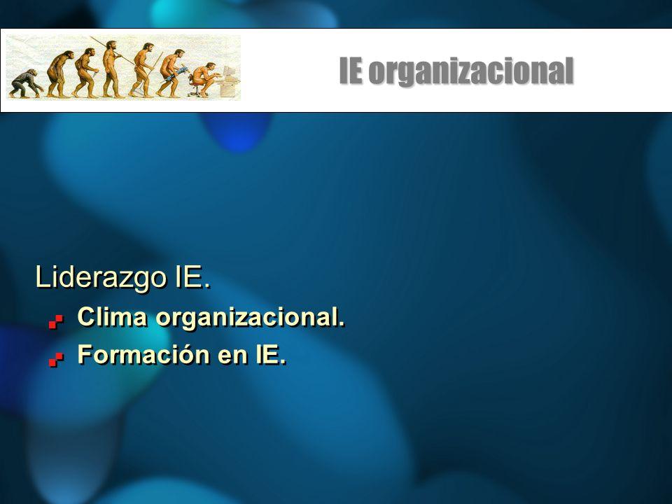 IE organizacional Liderazgo IE. Clima organizacional. Formación en IE. Liderazgo IE. Clima organizacional. Formación en IE.