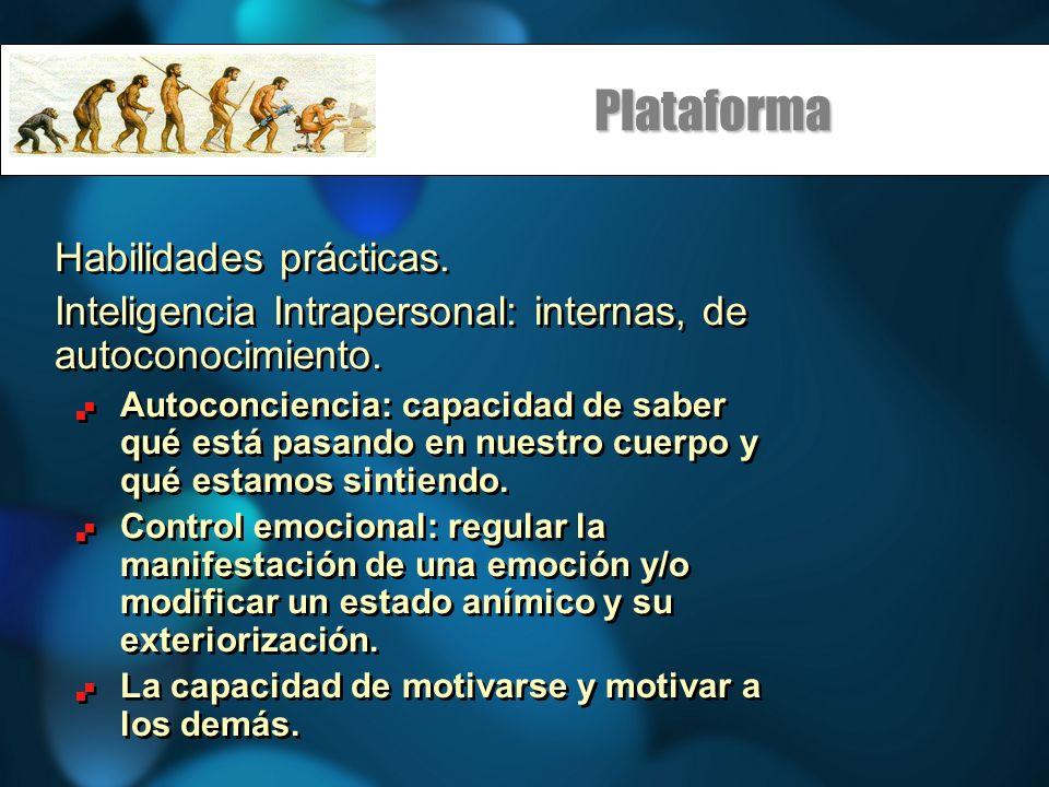 Plataforma Habilidades prácticas. Inteligencia Intrapersonal: internas, de autoconocimiento. Autoconciencia: capacidad de saber qué está pasando en nu