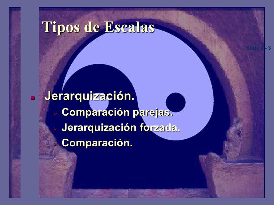Tipos de Escalas Jerarquización.Jerarquización. Comparación parejas.