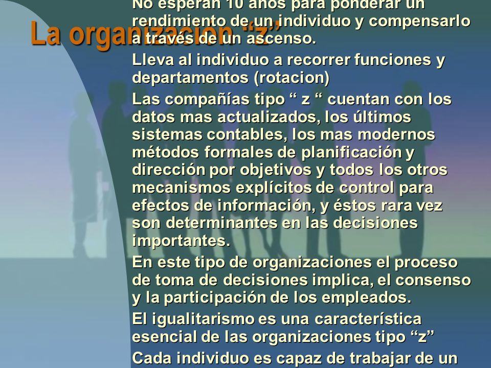 La organización z Ofrece empleos por periodos largos, frecuentemente de por vida No esperan 10 años para ponderar un rendimiento de un individuo y compensarlo a través de un ascenso.