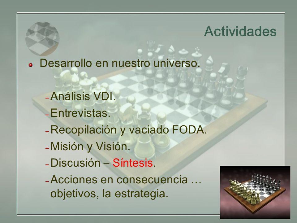 Actividades Desarrollo en nuestro universo. – Análisis VDI.