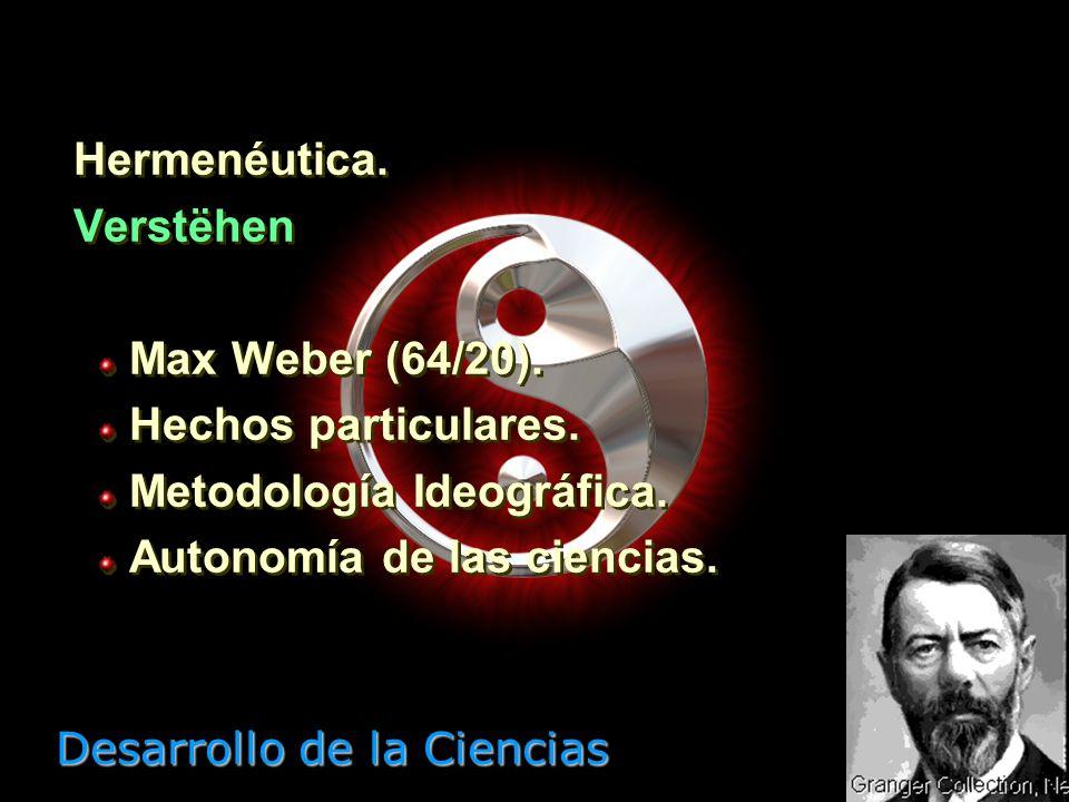 Desarrollo de la Ciencias Positivismo. Erklaren Augusto Comte (98/57). Leyes generales. Monismo metodológico. Modelo de las Ciencias Exactas. Positivi