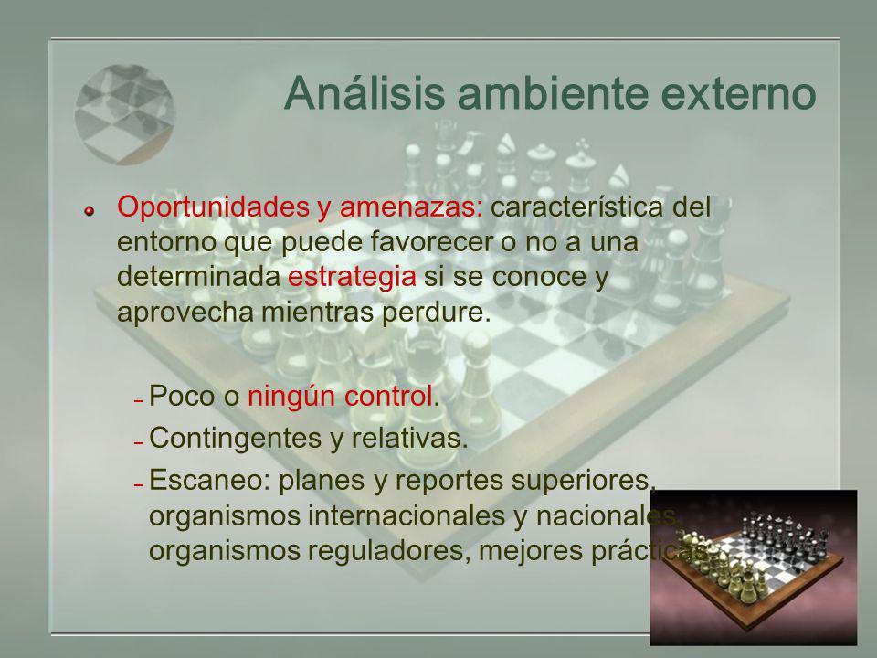 Análisis ambiente externo Oportunidades y amenazas: característica del entorno que puede favorecer o no a una determinada estrategia si se conoce y aprovecha mientras perdure.