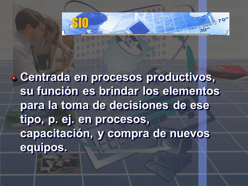 SIO Centrada en procesos productivos, su función es brindar los elementos para la toma de decisiones de ese tipo, p. ej. en procesos, capacitación, y