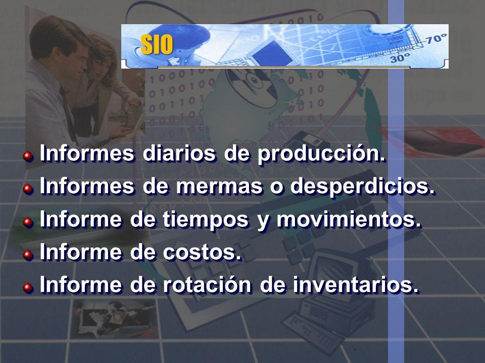 SIO Informes diarios de producción. Informes de mermas o desperdicios. Informe de tiempos y movimientos. Informe de costos. Informe de rotación de inv