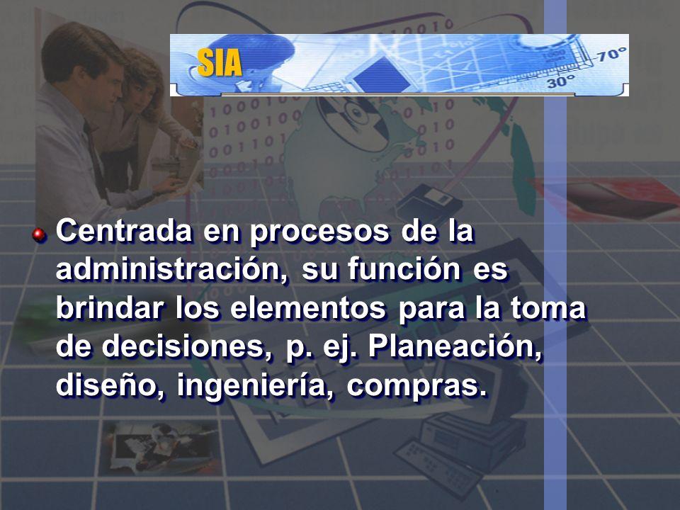 SIA Centrada en procesos de la administración, su función es brindar los elementos para la toma de decisiones, p. ej. Planeación, diseño, ingeniería,