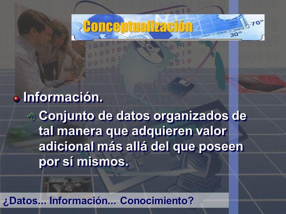 Conceptualización Información. Conjunto de datos organizados de tal manera que adquieren valor adicional más allá del que poseen por sí mismos. Conjun