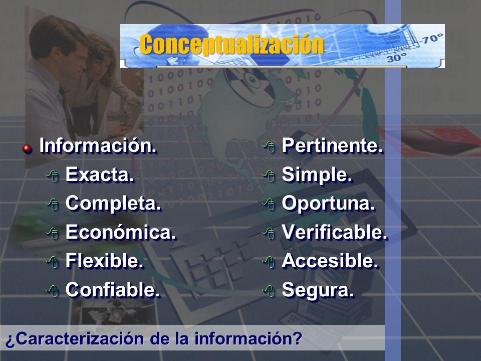 Conceptualización Información. Exacta. Exacta. Completa. Completa. Económica. Económica. Flexible. Flexible. Confiable. Confiable.Información. Exacta.