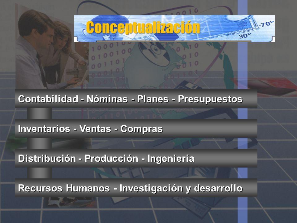 Conceptualización Contabilidad - Nóminas - Planes - Presupuestos Inventarios - Ventas - Compras Distribución - Producción - Ingeniería Recursos Humano