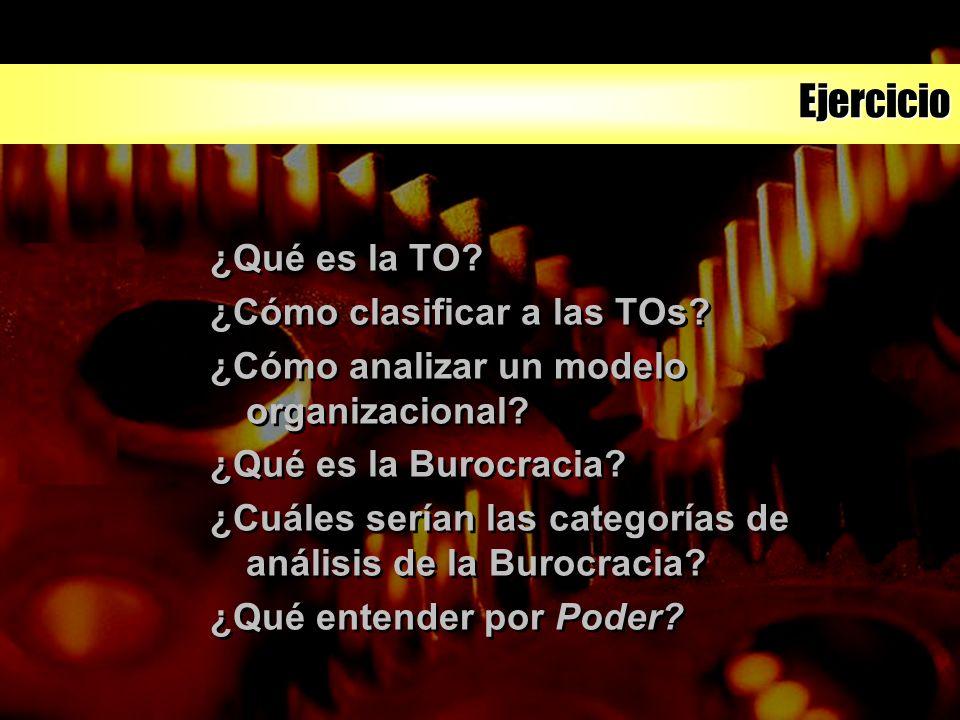 Ejercicio ¿Qué es la TO? ¿Cómo clasificar a las TOs? ¿Cómo analizar un modelo organizacional? ¿Qué es la Burocracia? ¿Cuáles serían las categorías de