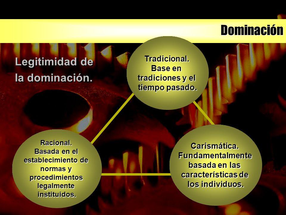 Dominación Racional. Basada en el establecimiento de normas y procedimientoslegalmenteinstituidos. Tradicional. Base en tradiciones y el tiempo pasado