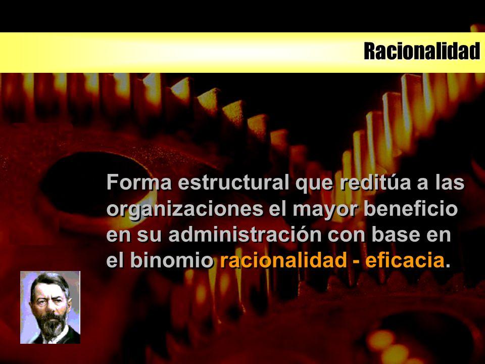 Racionalidad Forma estructural que reditúa a las organizaciones el mayor beneficio en su administración con base en el binomio racionalidad - eficacia