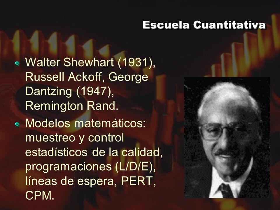 Escuela Cuantitativa Walter Shewhart (1931), Russell Ackoff, George Dantzing (1947), Remington Rand.