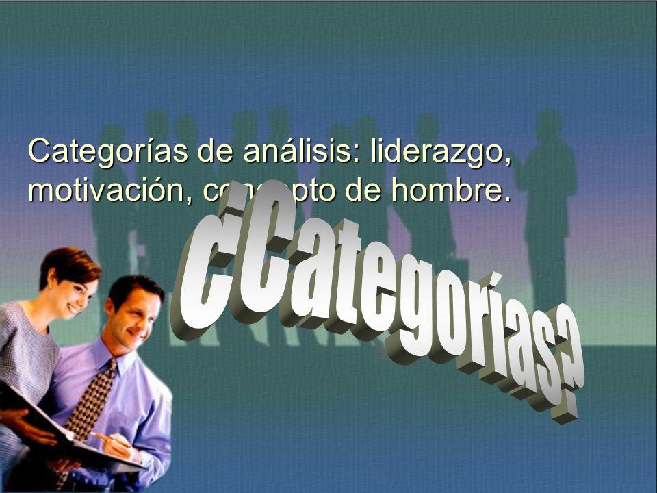 Categorías de análisis: liderazgo, motivación, concepto de hombre.