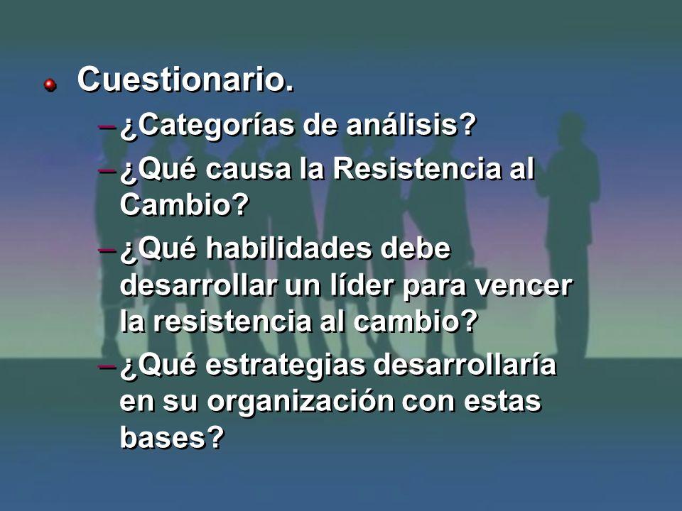 Cuestionario. –¿Categorías de análisis? –¿Qué causa la Resistencia al Cambio? –¿Qué habilidades debe desarrollar un líder para vencer la resistencia a