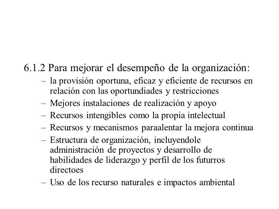 6.1.2 Para mejorar el desempeño de la organización: –la provisión oportuna, eficaz y eficiente de recursos en relación con las oportundiades y restric