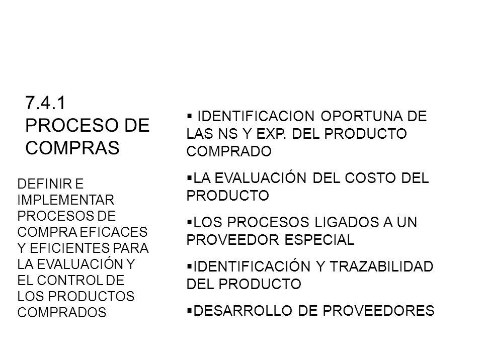 IDENTIFICACION OPORTUNA DE LAS NS Y EXP. DEL PRODUCTO COMPRADO LA EVALUACIÓN DEL COSTO DEL PRODUCTO LOS PROCESOS LIGADOS A UN PROVEEDOR ESPECIAL IDENT