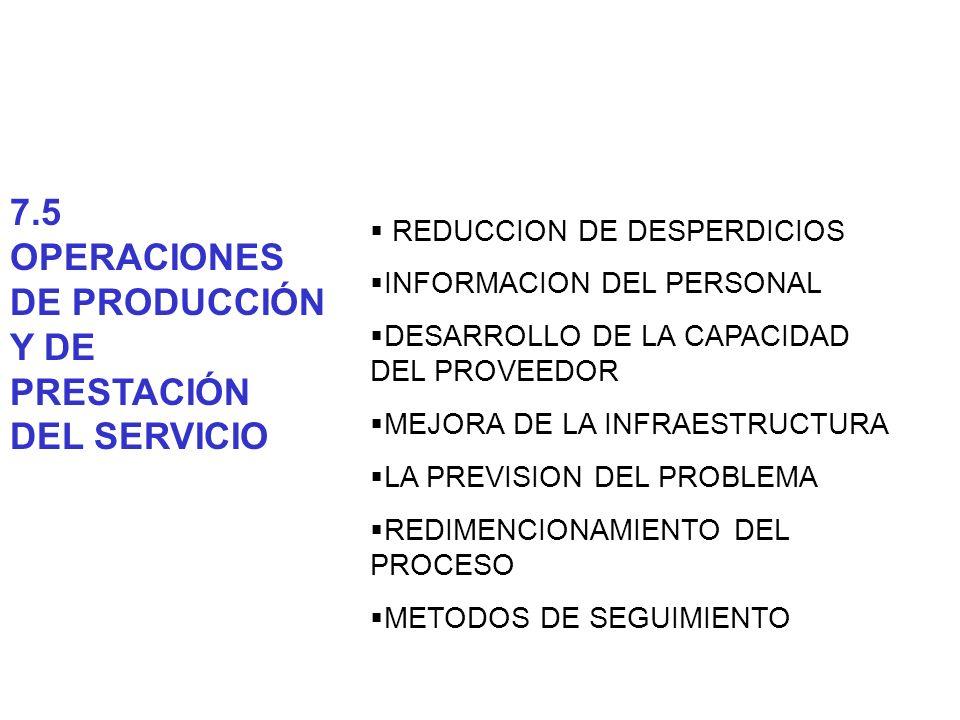 REDUCCION DE DESPERDICIOS INFORMACION DEL PERSONAL DESARROLLO DE LA CAPACIDAD DEL PROVEEDOR MEJORA DE LA INFRAESTRUCTURA LA PREVISION DEL PROBLEMA RED