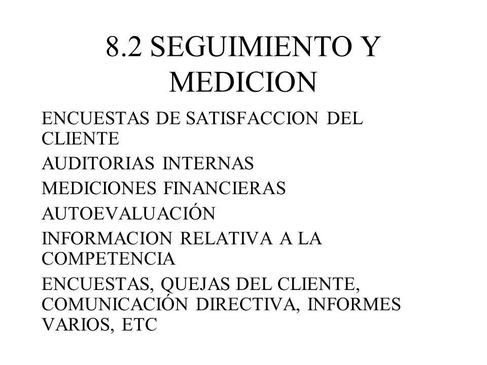 8.2 SEGUIMIENTO Y MEDICION ENCUESTAS DE SATISFACCION DEL CLIENTE AUDITORIAS INTERNAS MEDICIONES FINANCIERAS AUTOEVALUACIÓN INFORMACION RELATIVA A LA C