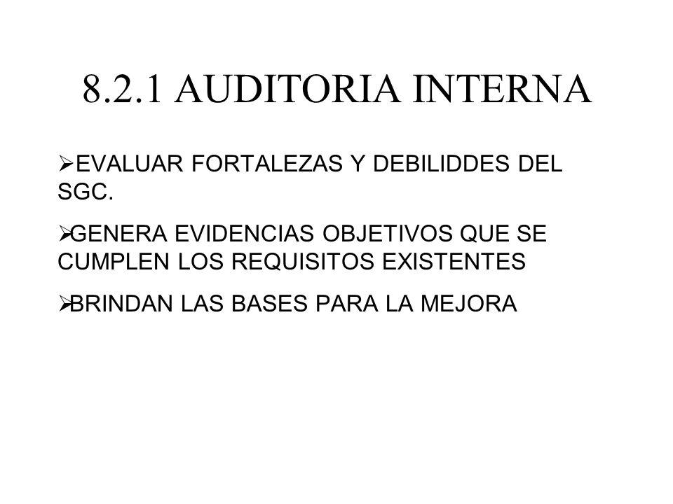 8.2.1 AUDITORIA INTERNA EVALUAR FORTALEZAS Y DEBILIDDES DEL SGC. GENERA EVIDENCIAS OBJETIVOS QUE SE CUMPLEN LOS REQUISITOS EXISTENTES BRINDAN LAS BASE
