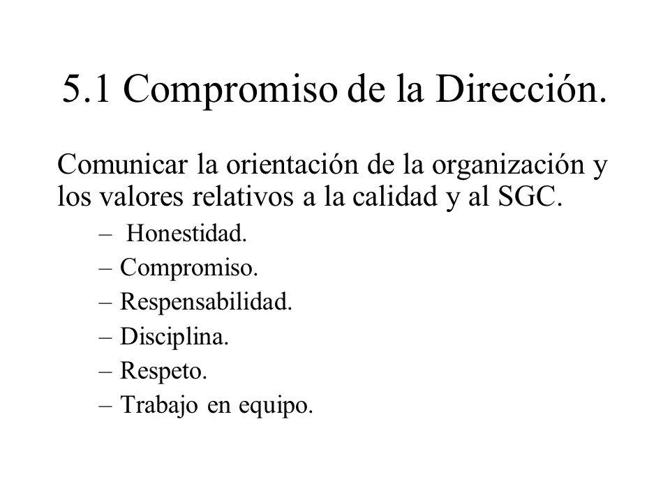 5.1 Compromiso de la Dirección. Comunicar la orientación de la organización y los valores relativos a la calidad y al SGC. – Honestidad. –Compromiso.