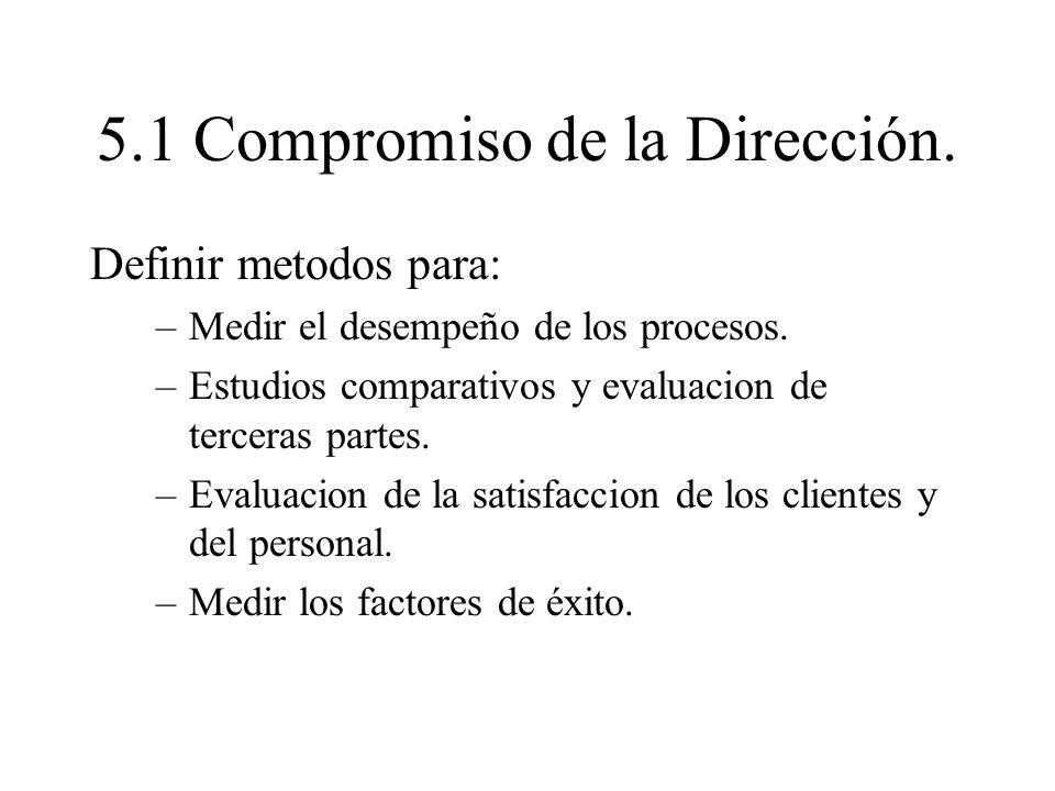 5.1 Compromiso de la Dirección. Definir metodos para: –Medir el desempeño de los procesos. –Estudios comparativos y evaluacion de terceras partes. –Ev
