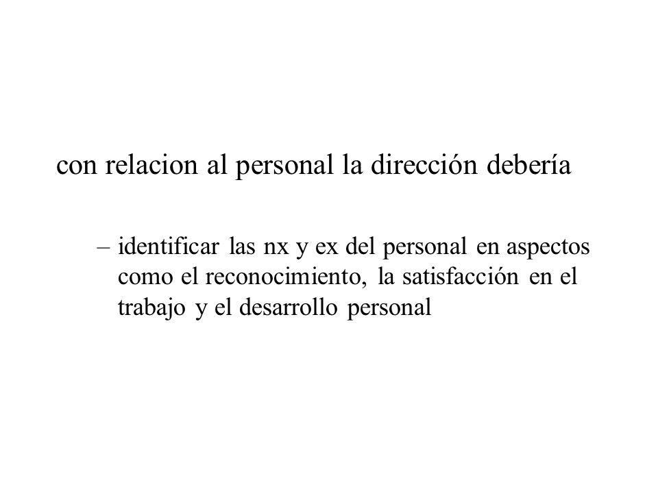 con relacion al personal la dirección debería –identificar las nx y ex del personal en aspectos como el reconocimiento, la satisfacción en el trabajo