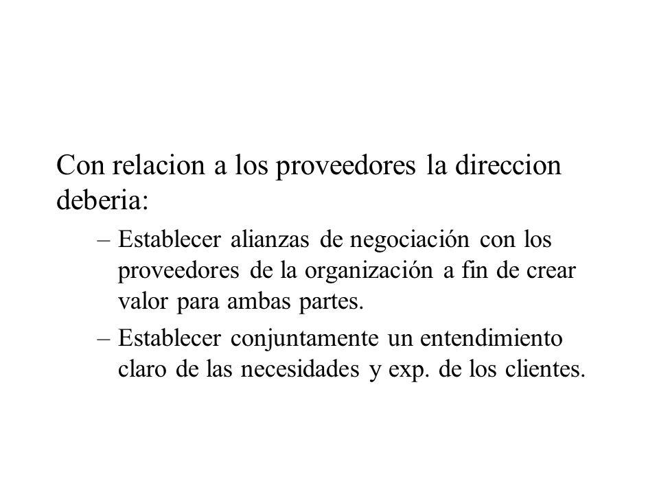 Con relacion a los proveedores la direccion deberia: –Establecer alianzas de negociación con los proveedores de la organización a fin de crear valor p