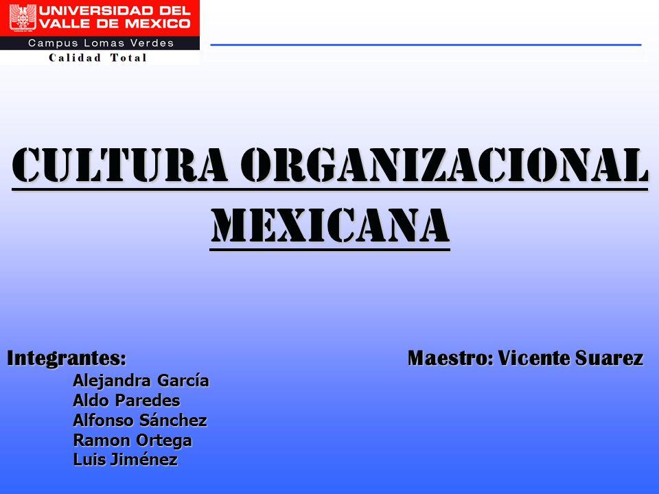 Cultura organizacional mexicana Integrantes: Maestro: Vicente Suarez Alejandra García Aldo Paredes Alfonso Sánchez Ramon Ortega Luis Jiménez