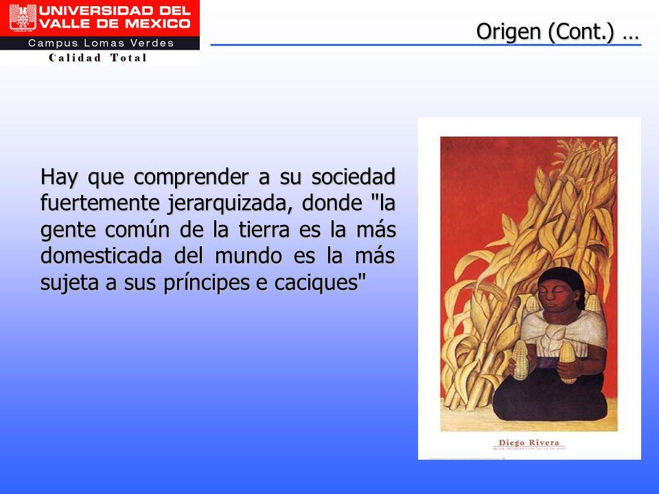 Origen (Cont.) … Hay que comprender a su sociedad fuertemente jerarquizada, donde