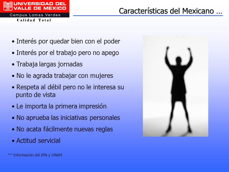 Características del Mexicano … Interés por quedar bien con el poder Interés por el trabajo pero no apego Trabaja largas jornadas No le agrada trabajar