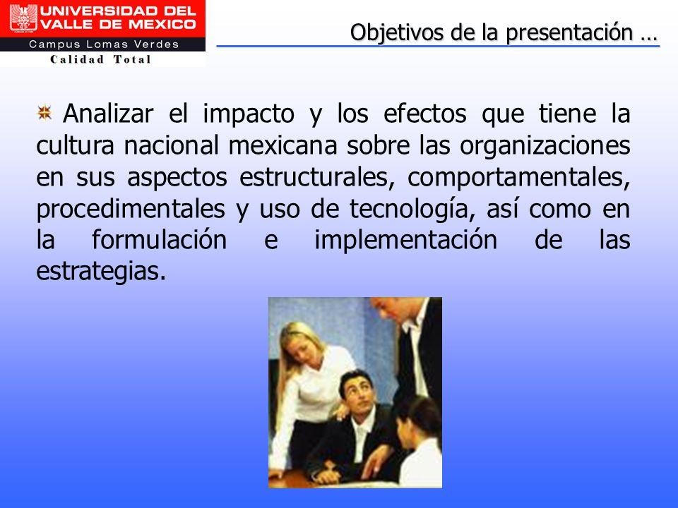 Objetivos de la presentación … Analizar el impacto y los efectos que tiene la cultura nacional mexicana sobre las organizaciones en sus aspectos estru