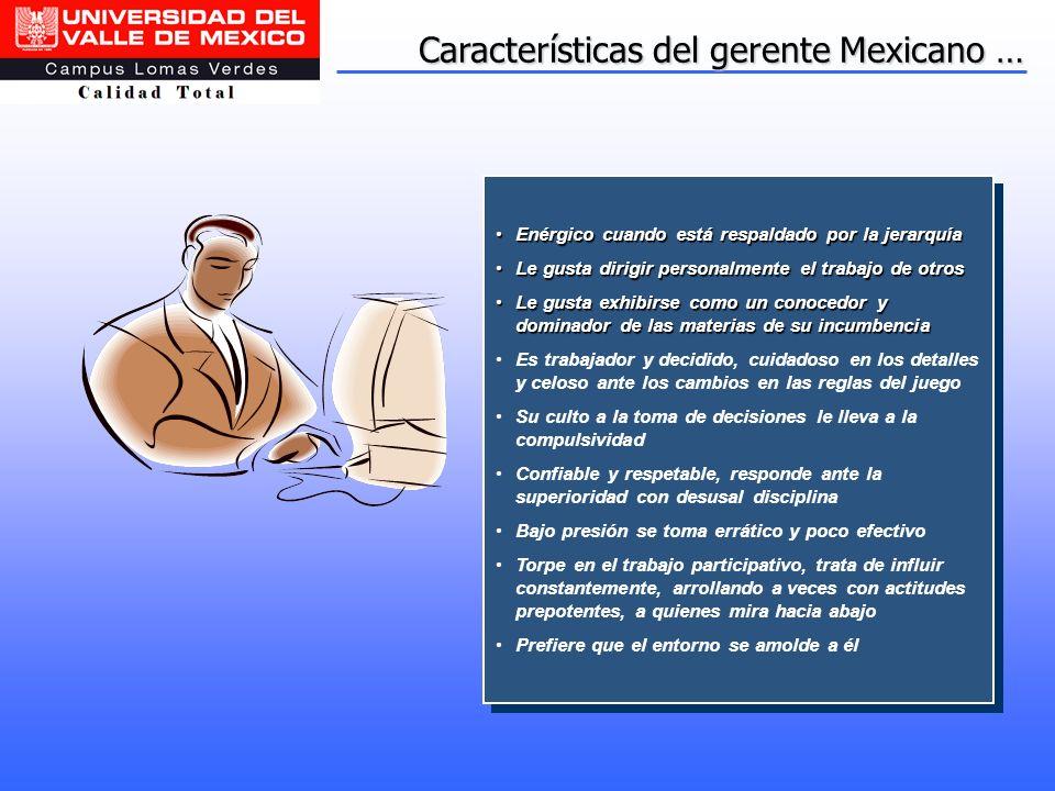 Características del gerente Mexicano … Enérgico cuando está respaldado por la jerarquíaEnérgico cuando está respaldado por la jerarquía Le gusta dirig
