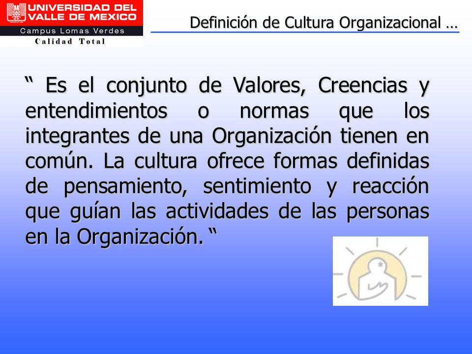 Definición de Cultura Organizacional … Es el conjunto de Valores, Creencias y entendimientos o normas que los integrantes de una Organización tienen e