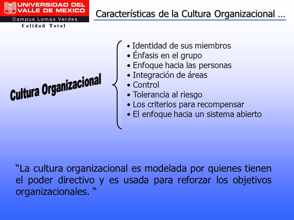 Características de la Cultura Organizacional … La cultura organizacional es modelada por quienes tienen el poder directivo y es usada para reforzar lo