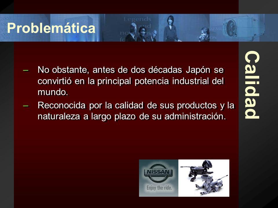 Calidad –No obstante, antes de dos décadas Japón se convirtió en la principal potencia industrial del mundo.