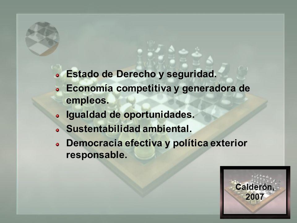 Calderón, 2007 Estado de Derecho y seguridad. Economía competitiva y generadora de empleos.