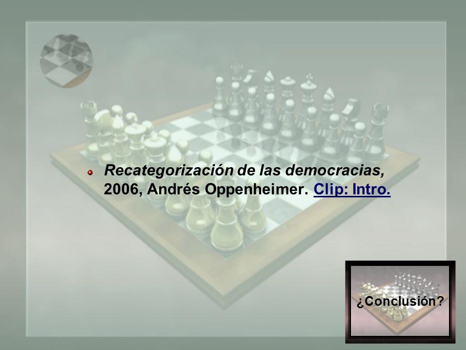 ¿Conclusión. Recategorización de las democracias, 2006, Andrés Oppenheimer.
