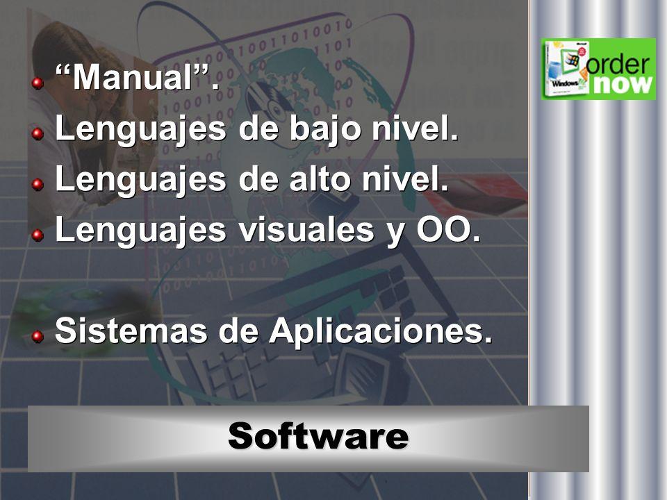 Software Manual. Lenguajes de bajo nivel. Lenguajes de alto nivel. Lenguajes visuales y OO. Sistemas de Aplicaciones. Manual. Lenguajes de bajo nivel.