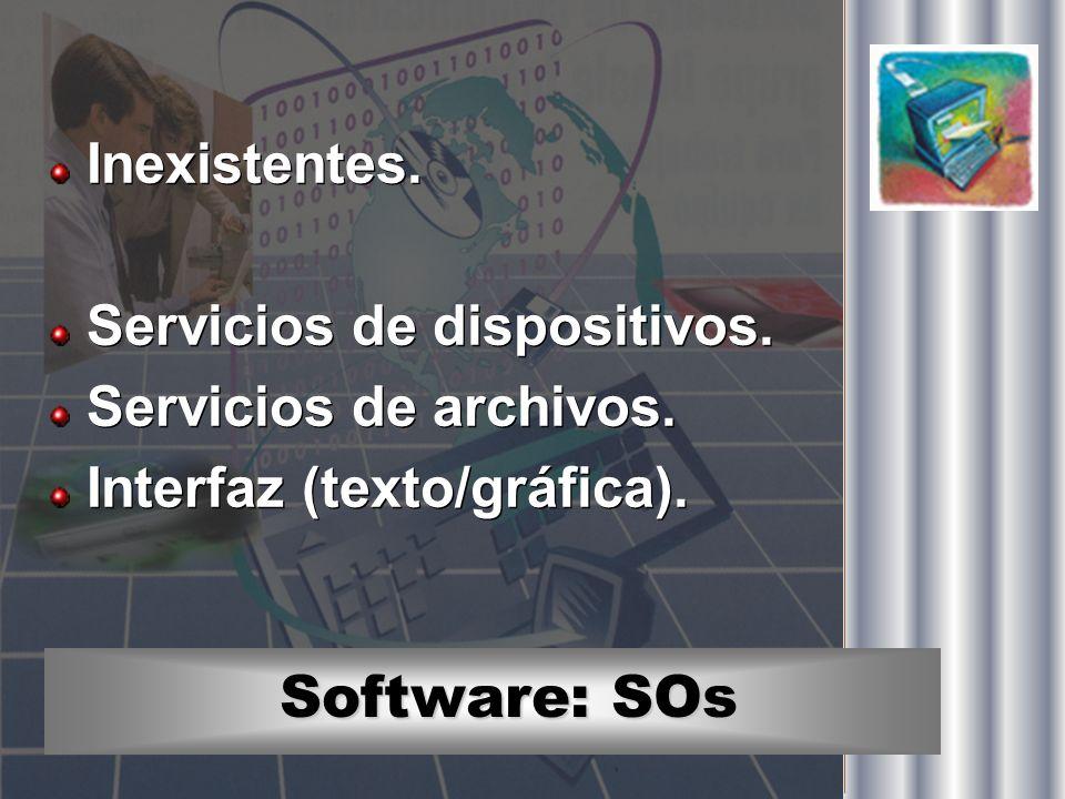 Software: SOs Inexistentes. Servicios de dispositivos. Servicios de archivos. Interfaz (texto/gráfica). Inexistentes. Servicios de dispositivos. Servi