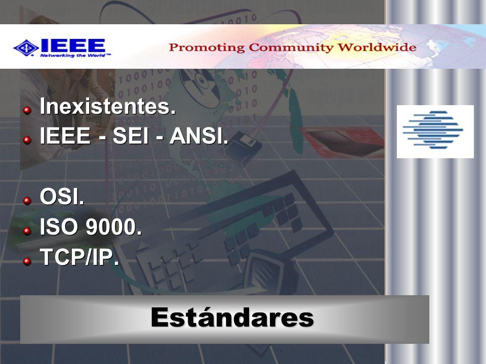 Estándares Inexistentes. IEEE - SEI - ANSI. OSI. ISO 9000. TCP/IP. Inexistentes. IEEE - SEI - ANSI. OSI. ISO 9000. TCP/IP.