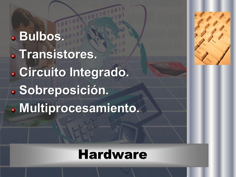 Hardware Bulbos. Transistores. Circuito Integrado. Sobreposición. Multiprocesamiento. Bulbos. Transistores. Circuito Integrado. Sobreposición. Multipr