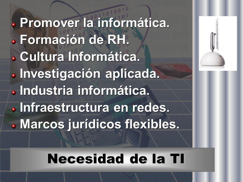 Necesidad de la TI Promover la informática. Formación de RH. Cultura Informática. Investigación aplicada. Industria informática. Infraestructura en re