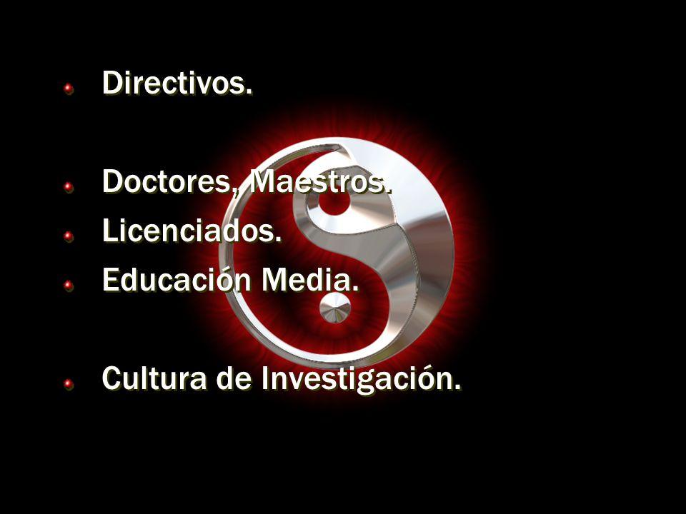 Directivos. Doctores, Maestros. Licenciados. Educación Media.