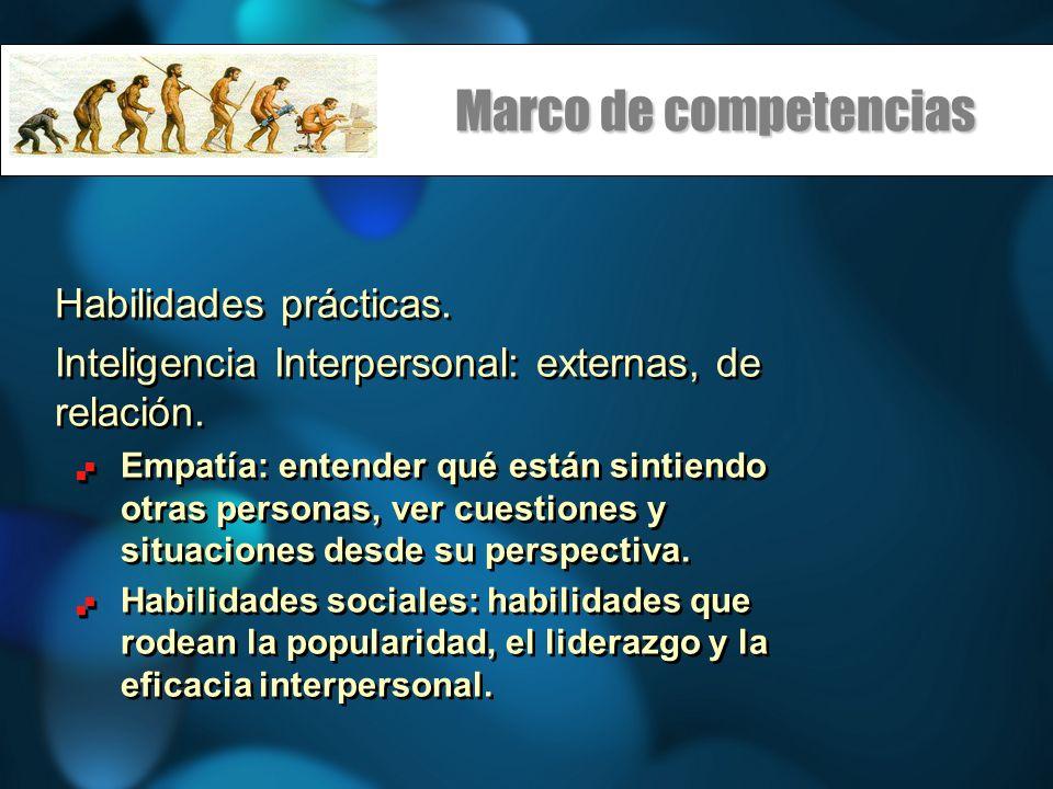 Marco de competencias Habilidades prácticas.Inteligencia Interpersonal: externas, de relación.