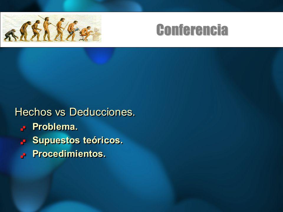 Conferencia Hechos vs Deducciones.Problema. Supuestos teóricos.