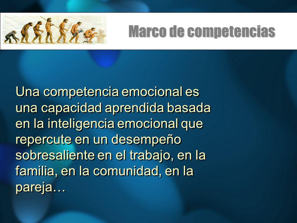 Marco de competencias Una competencia emocional es una capacidad aprendida basada en la inteligencia emocional que repercute en un desempeño sobresaliente en el trabajo, en la familia, en la comunidad, en la pareja…