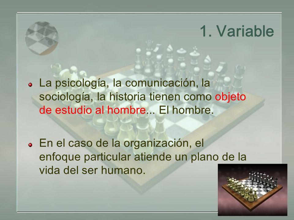 1. Variable La psicología, la comunicación, la sociología, la historia tienen como objeto de estudio al hombre... El hombre. En el caso de la organiza