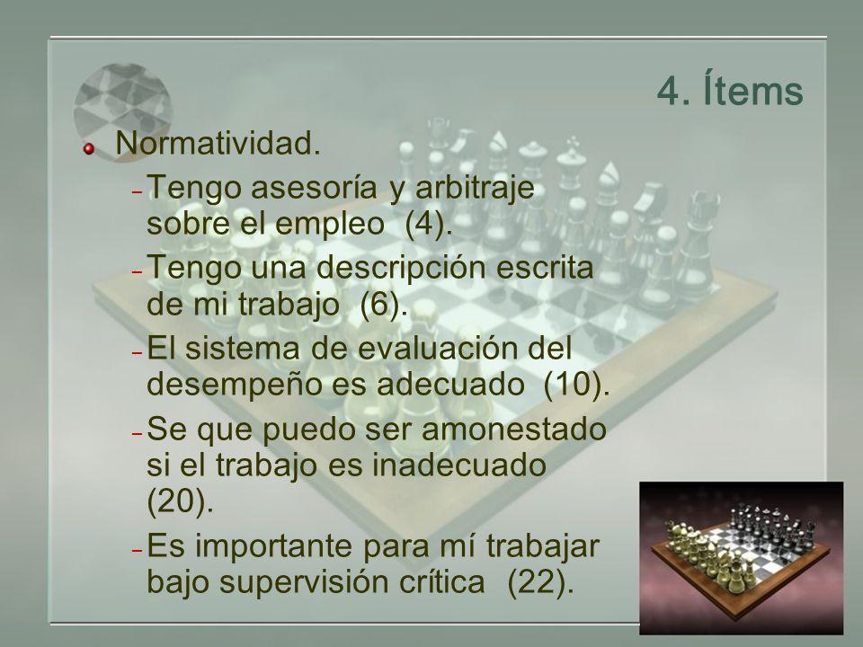 4.Ítems Normatividad. – Tengo asesoría y arbitraje sobre el empleo (4).